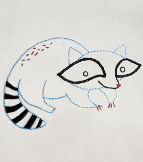 Penguin & Fish Hand Embroidery Pattern-Raccoon