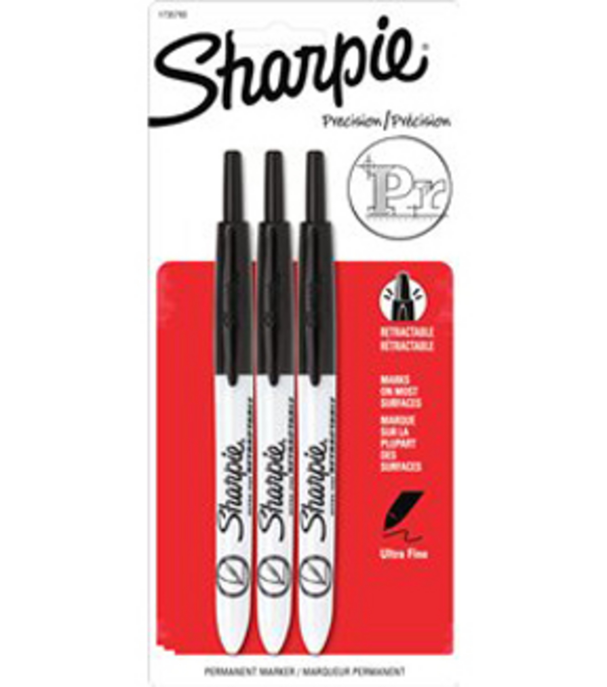 Sanford Sharpie Retractable Ultra Fine Tip Carded 3Pk-Black
