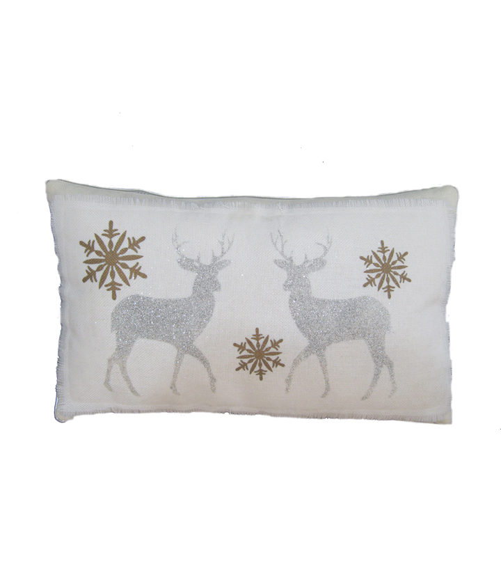 Maker\u0027s Holiday Pillow-White & Silver Deer