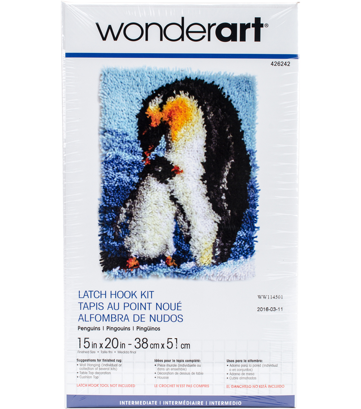 "Wonderart Latch Hook Kit 15""X20""-Penguins"
