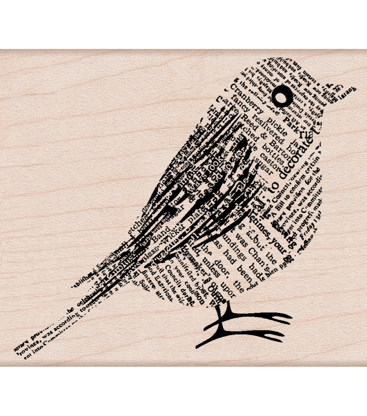 "Hero Arts Mounted Rubber Stamps 3.75""X3.25""X1""-Newsprint Bird"