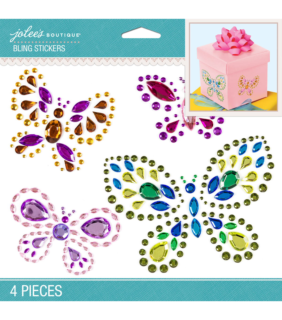 Jolee's Boutique® 4 Pack 6.5''x5'' Butterflies Bling Stickers