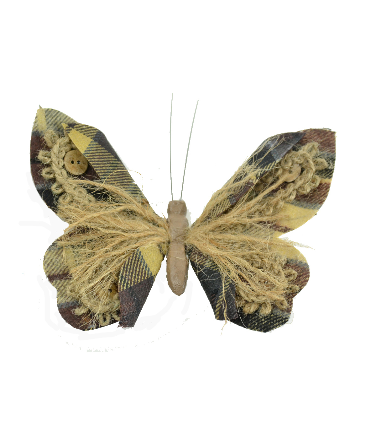 Blooming Autumn Small Jute Rope & Button Plaid Butterfly