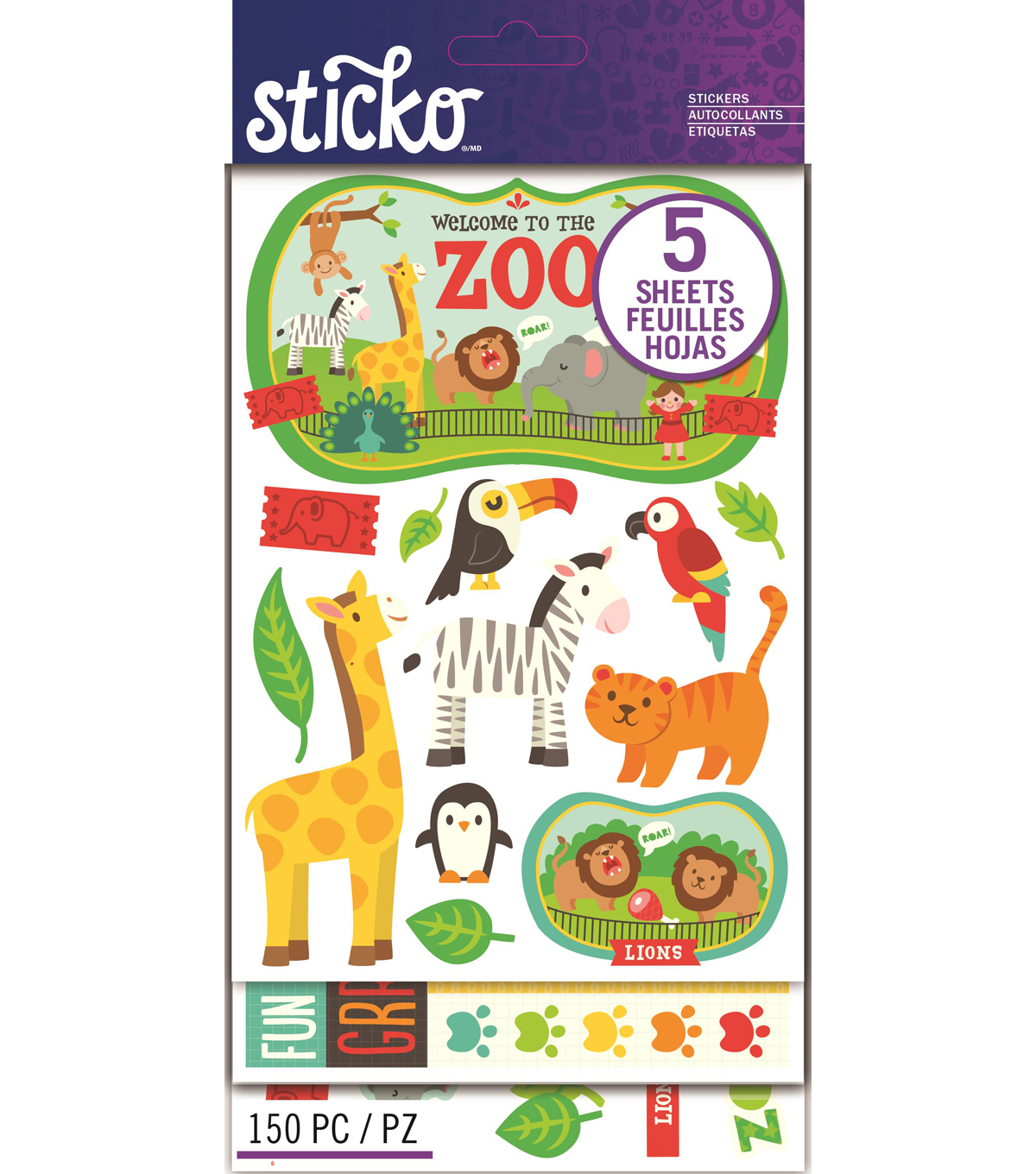 Sticko® 150 Pack Flip Stickers-Zoo