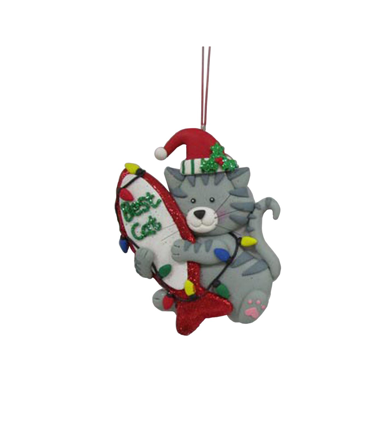 Maker\u0027s Holiday Cat Holding Fish Ornament