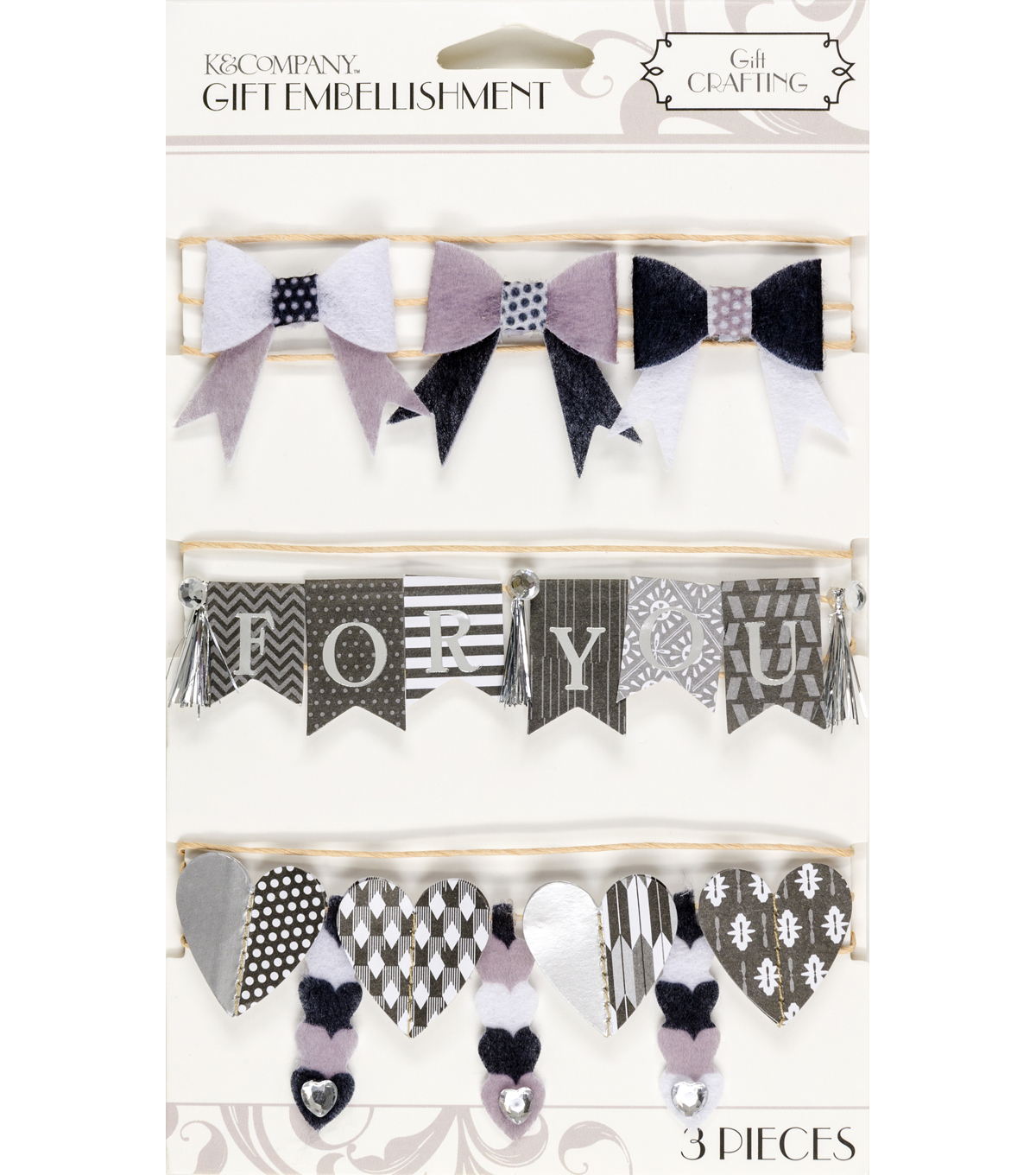 K&Company Black And White Banner Gift Embellishment
