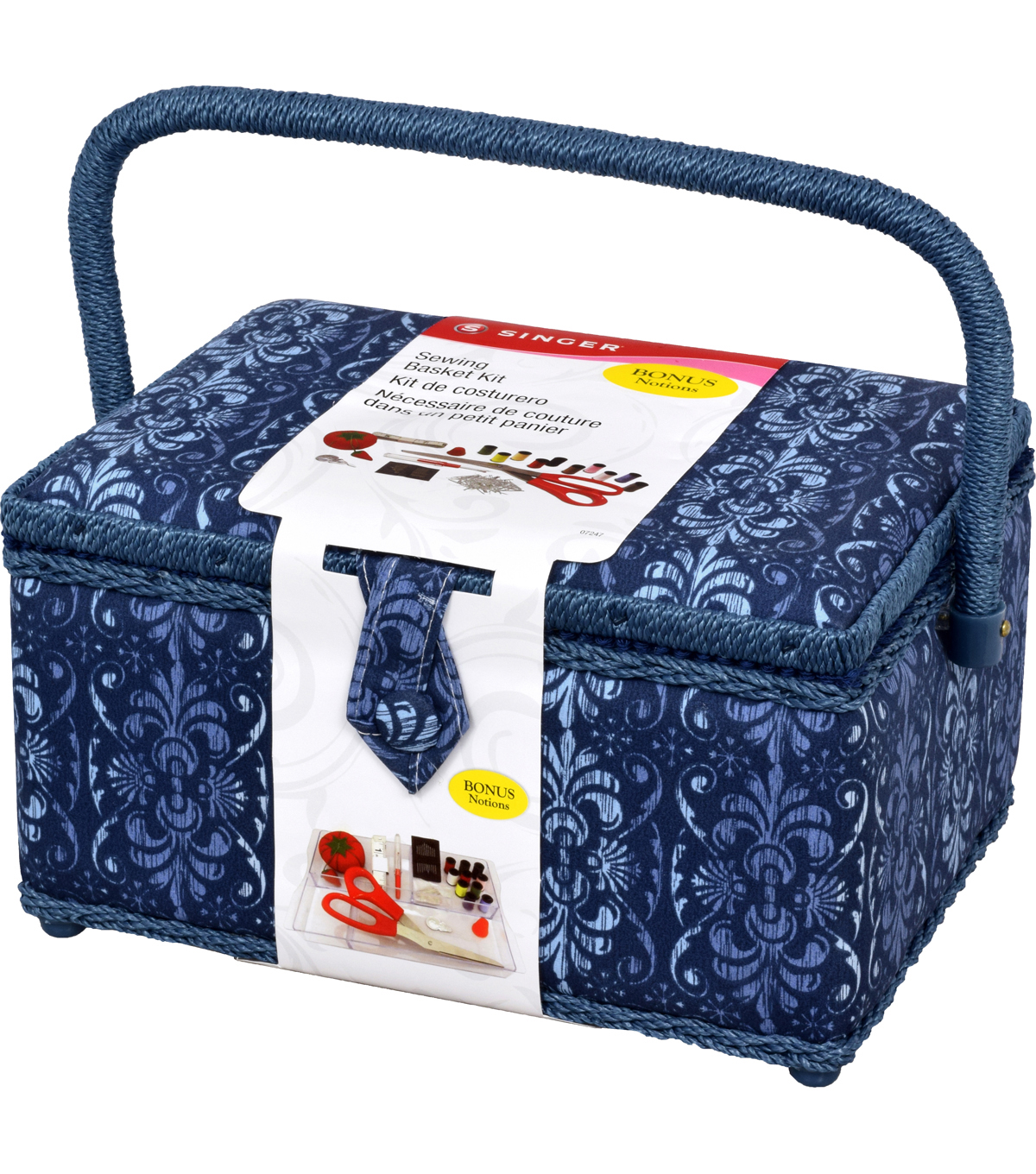 Singer® Large Sewing Basket with Notions Kit-Chambray Ombre