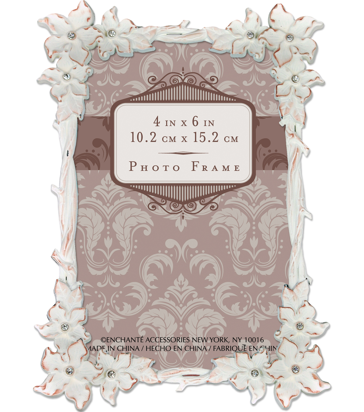 Metal Frame with Floral Border and Stones 4x6-White