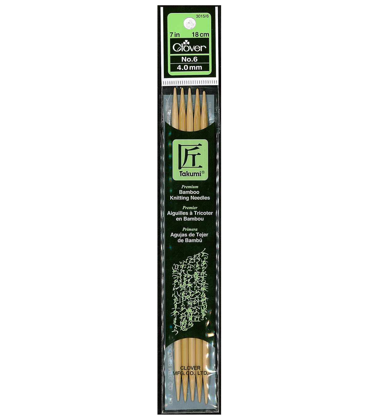 Clover Bamboo Double Point Knitting Needles 7\u0022-Size 6