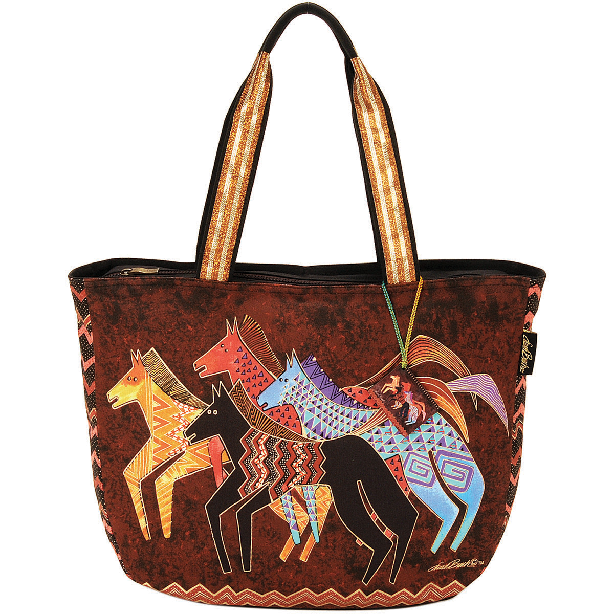 Laurel Burch Shoulder Tote Zipper Top 23.5\u0022x5.5\u0022x15.25\u0022-Native Horses