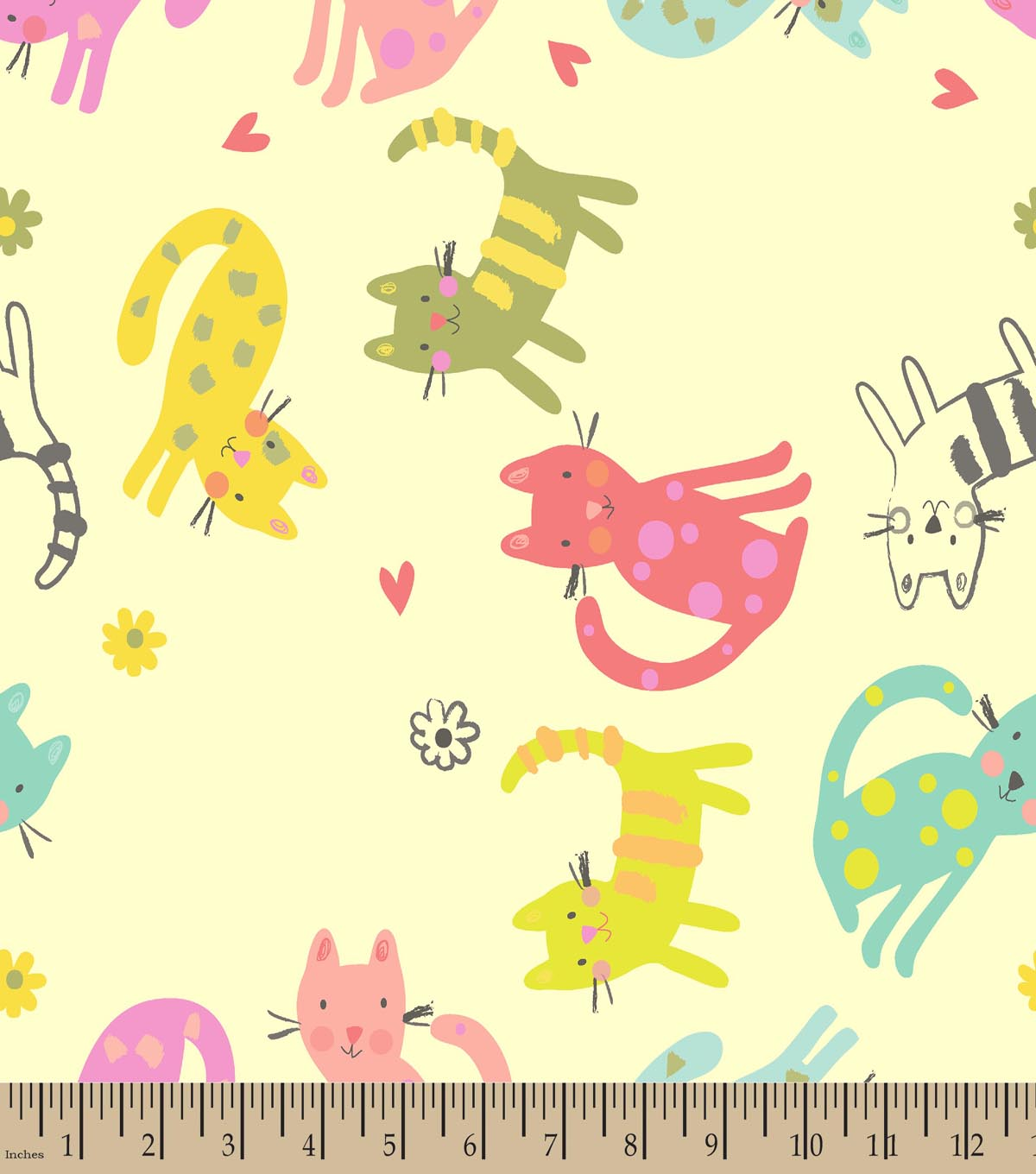 Colorful Cats Cream Print Fabric
