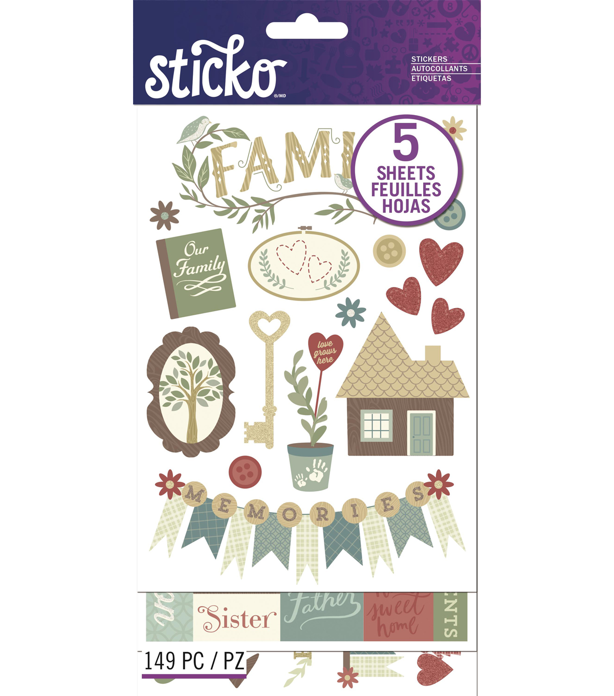 Sticko® 149 Pack Flip Stickers-Family Icons Words