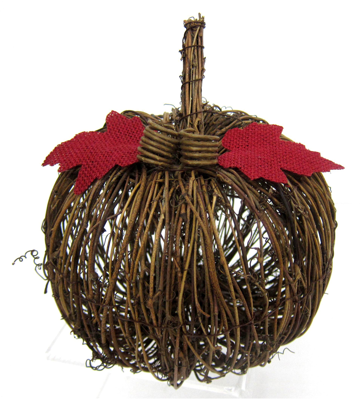 Pumpkin Boutique Medium Rattan Pumpkin with Red Leaves