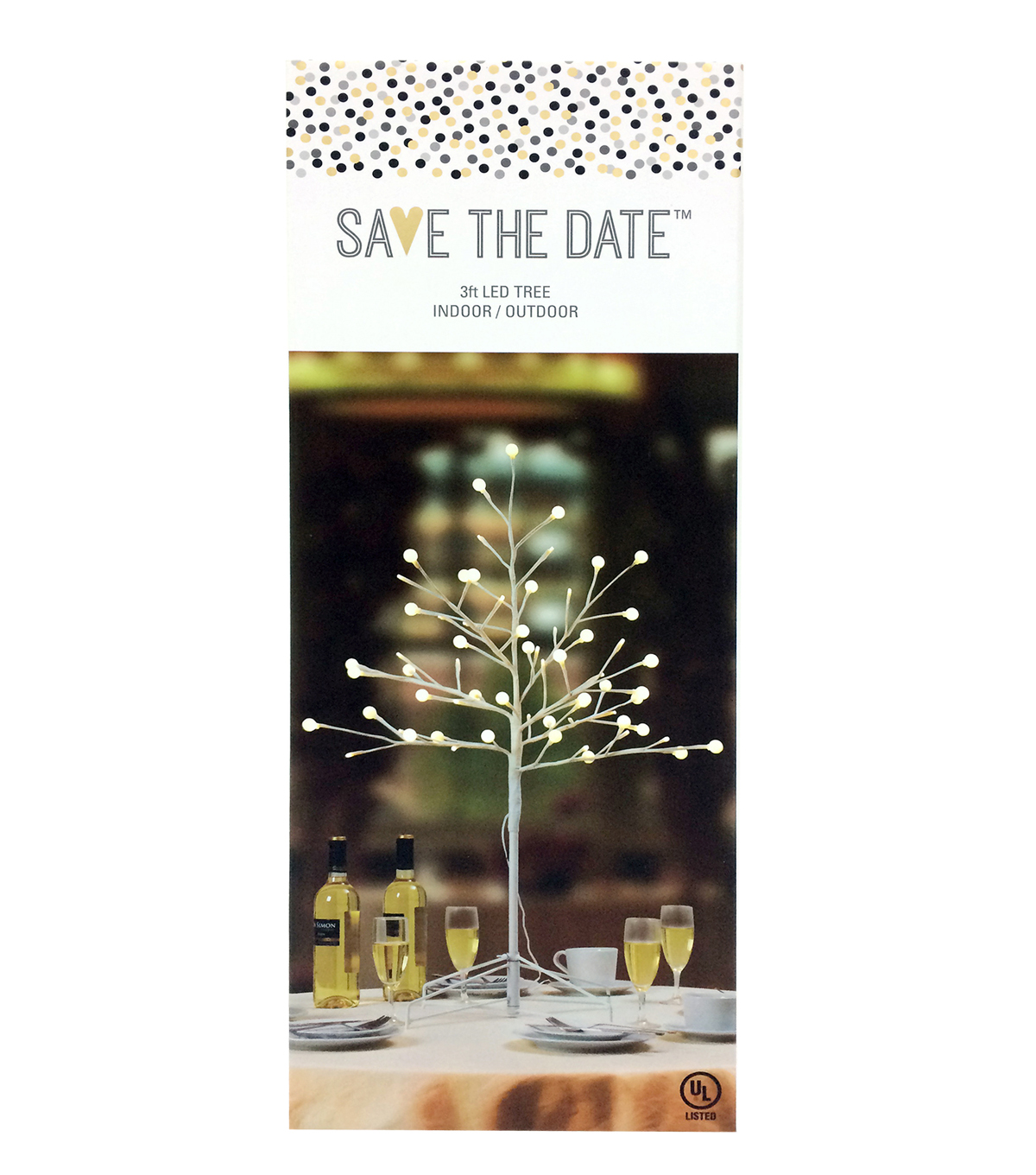 Save The Date™ 3\u0027 LED Branch Tree-White