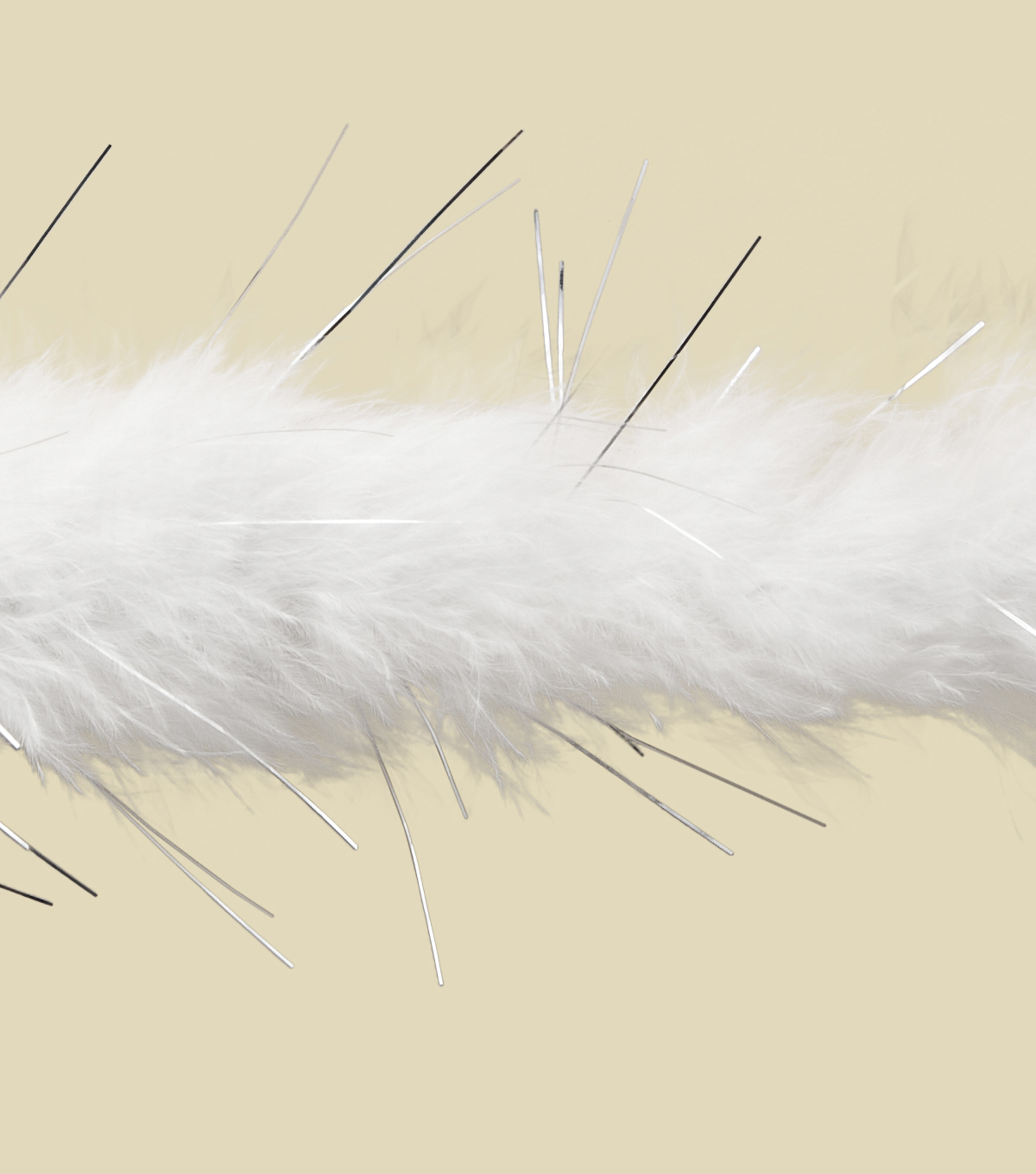 1.5\u0022 White Marabou W/ Silver Lurex Apparel Trim