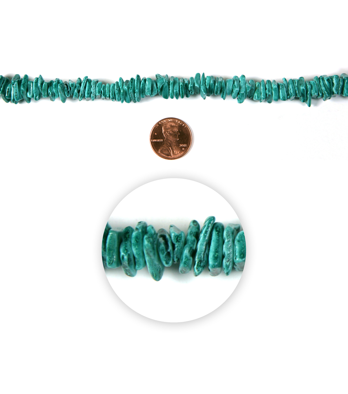 Blue Moon Strung Dyed Shell Chip Beads,Square,Turq