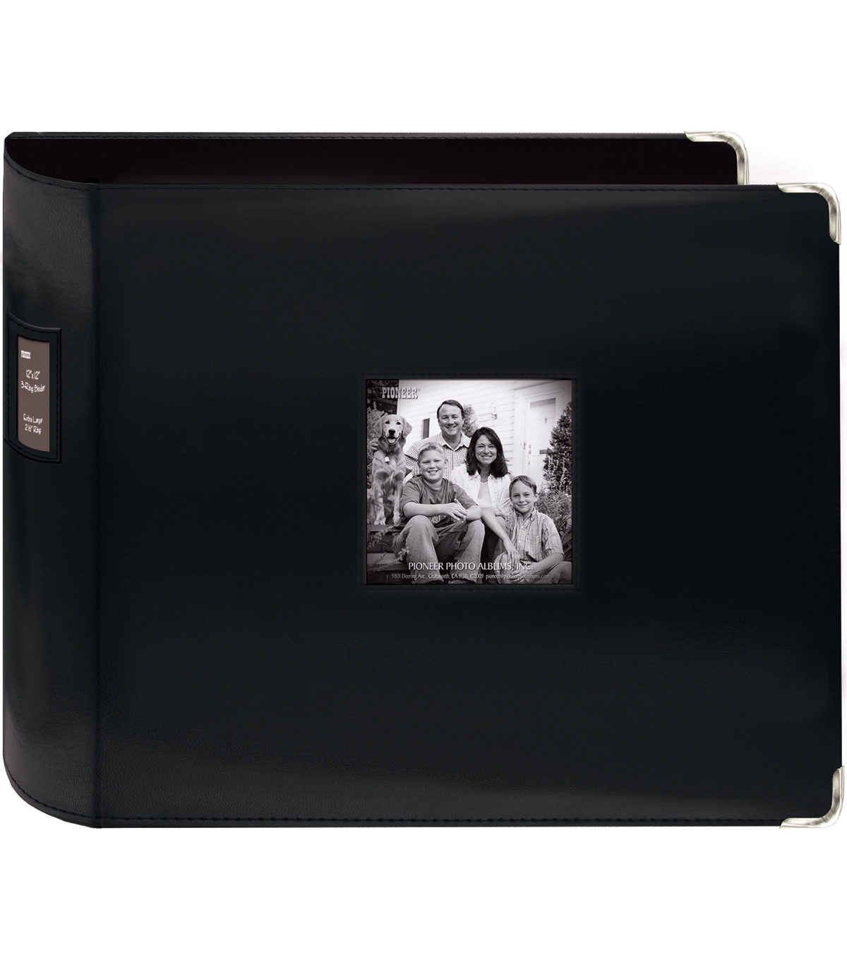 Pioneer Sewn Leatherette 3-Ring Binder 12\u0022X12\u0022-Black