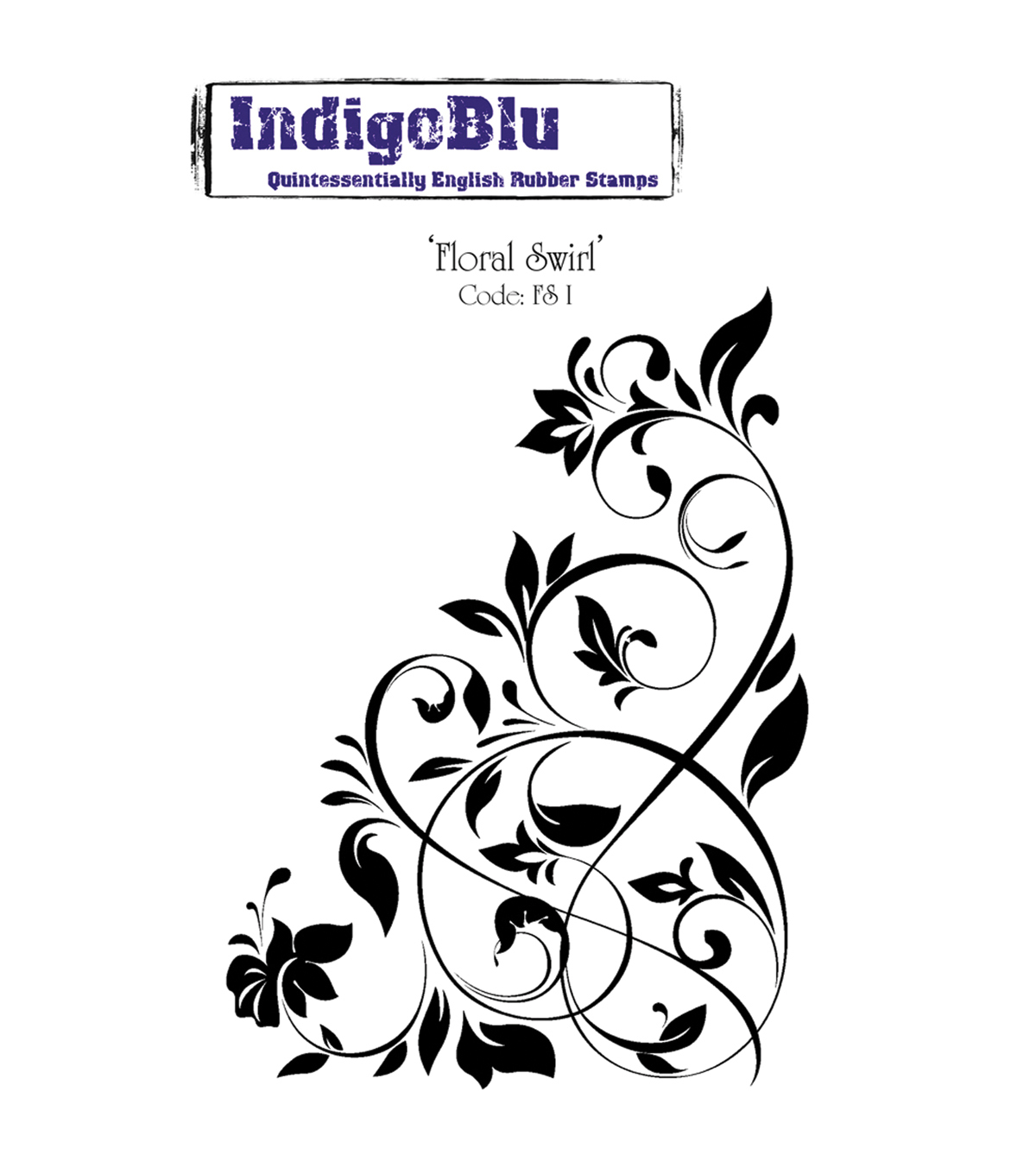 "IndigoBlu Cling Mounted Stamp 5""X4""-Floral Swirl"