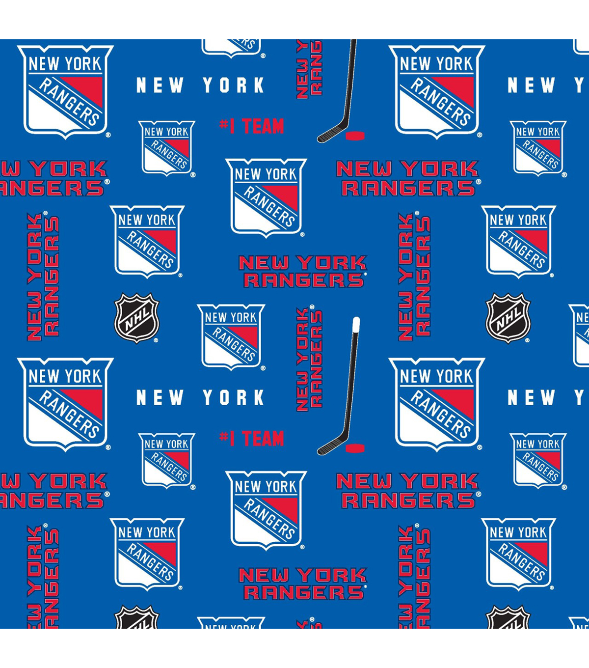 New York Rangers Fleece Fabric 60u0022 Block