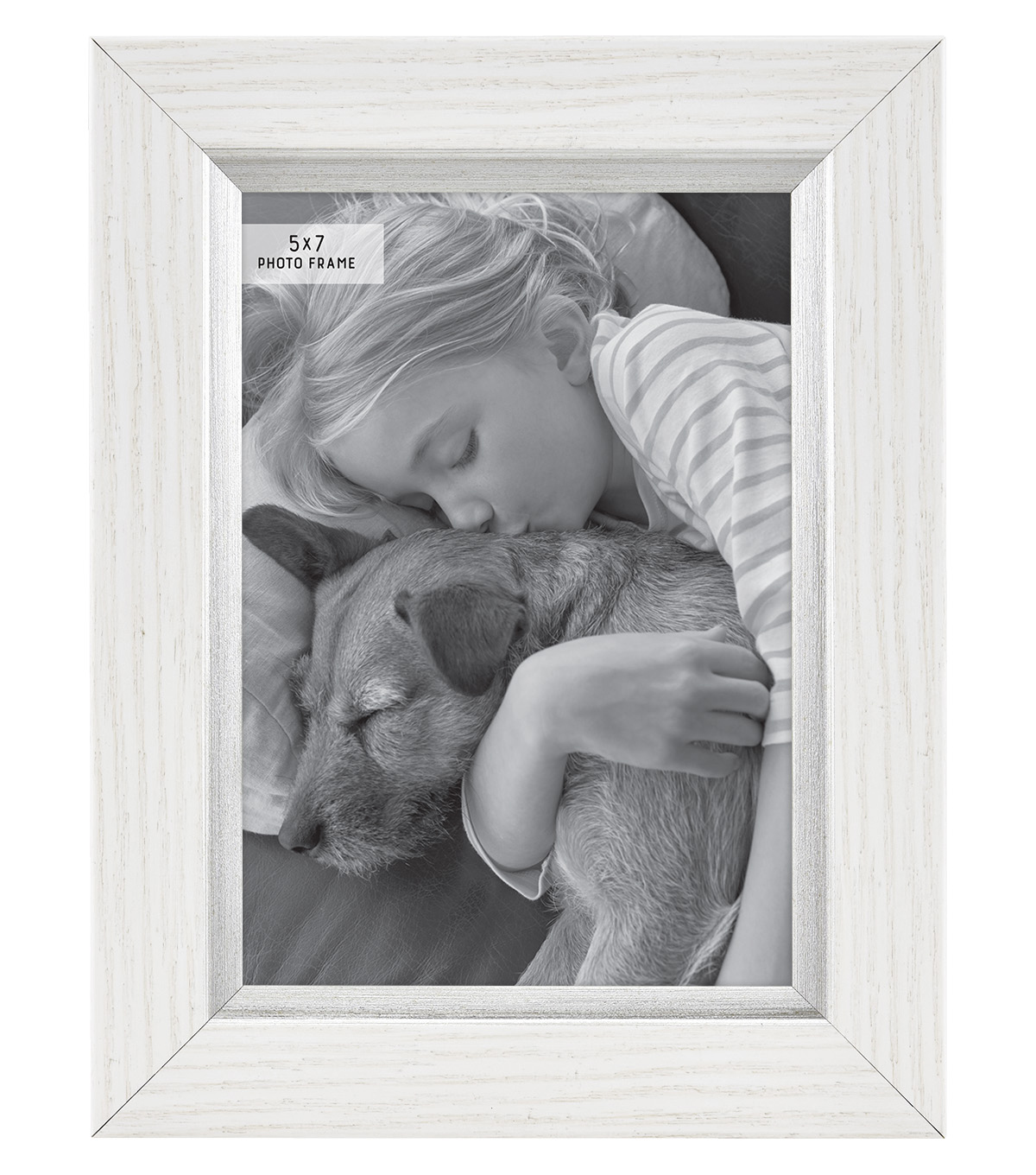 Plastic & Glass Picture Frame 5\u0027\u0027x7\u0027\u0027-White with Silver Accent