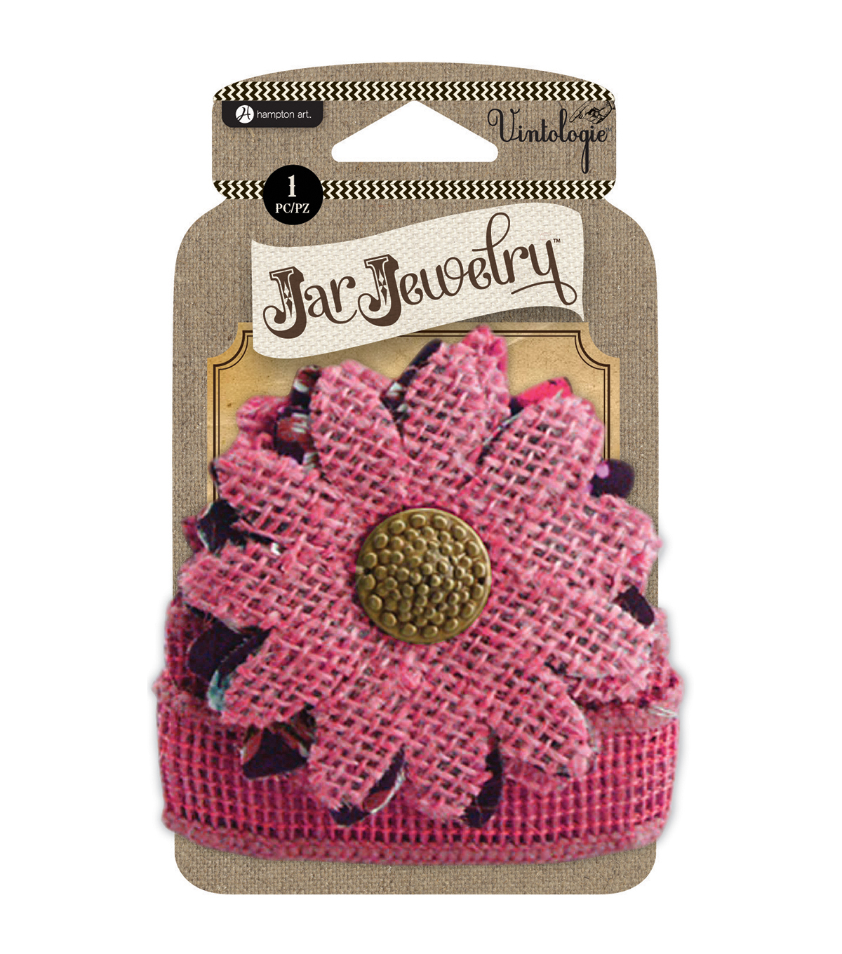 Embellished Burlap Flowers For Pint Jars W/Tie-Pink