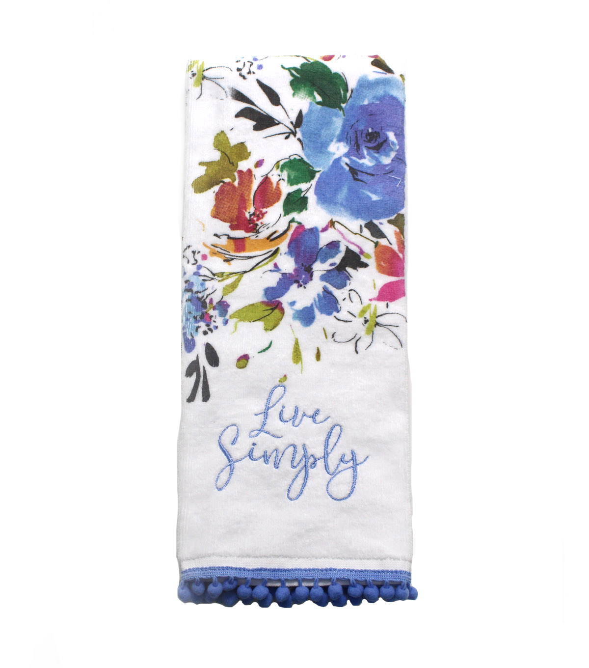 Wild Blooms Velour Terry Towel-Blue Live Simply