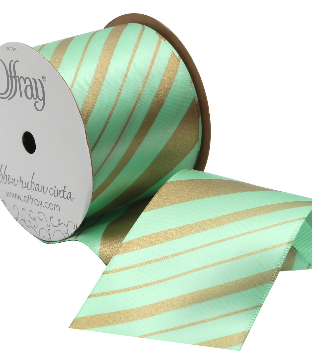 Offray 2.25\u0022 x 9\u0027 Diagonal Stripe Ribbon-Mint/Gold