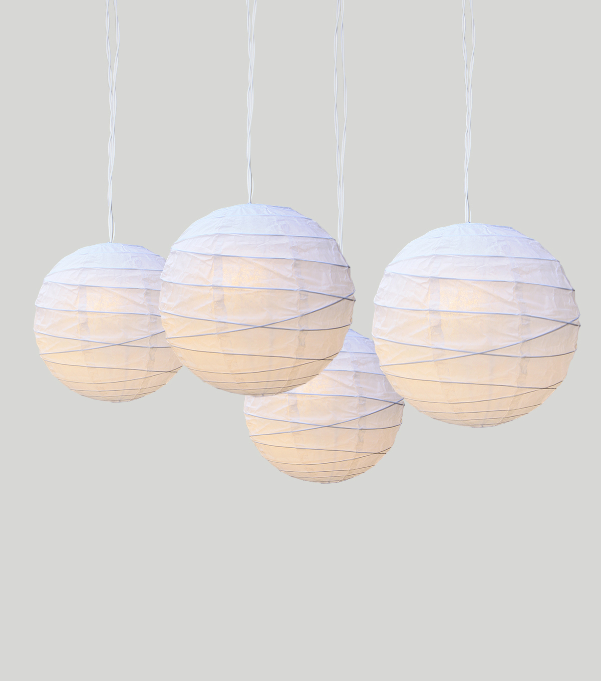 Save The Date 4 Count Paper Lanterns LEDs-White