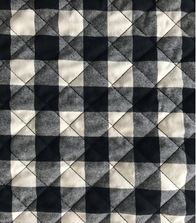 Doodles Quilted Knit Fabric 53\u0022-Black & White Buffalo Plaid