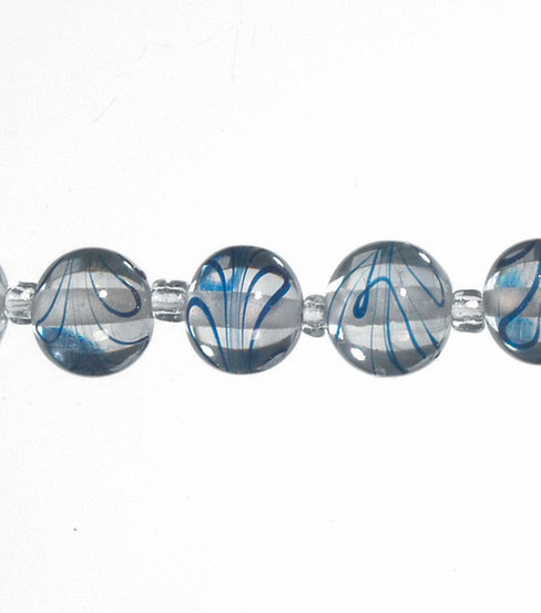 Darice® 12mm Round Glass Strung Beads-7\u0022/Clear