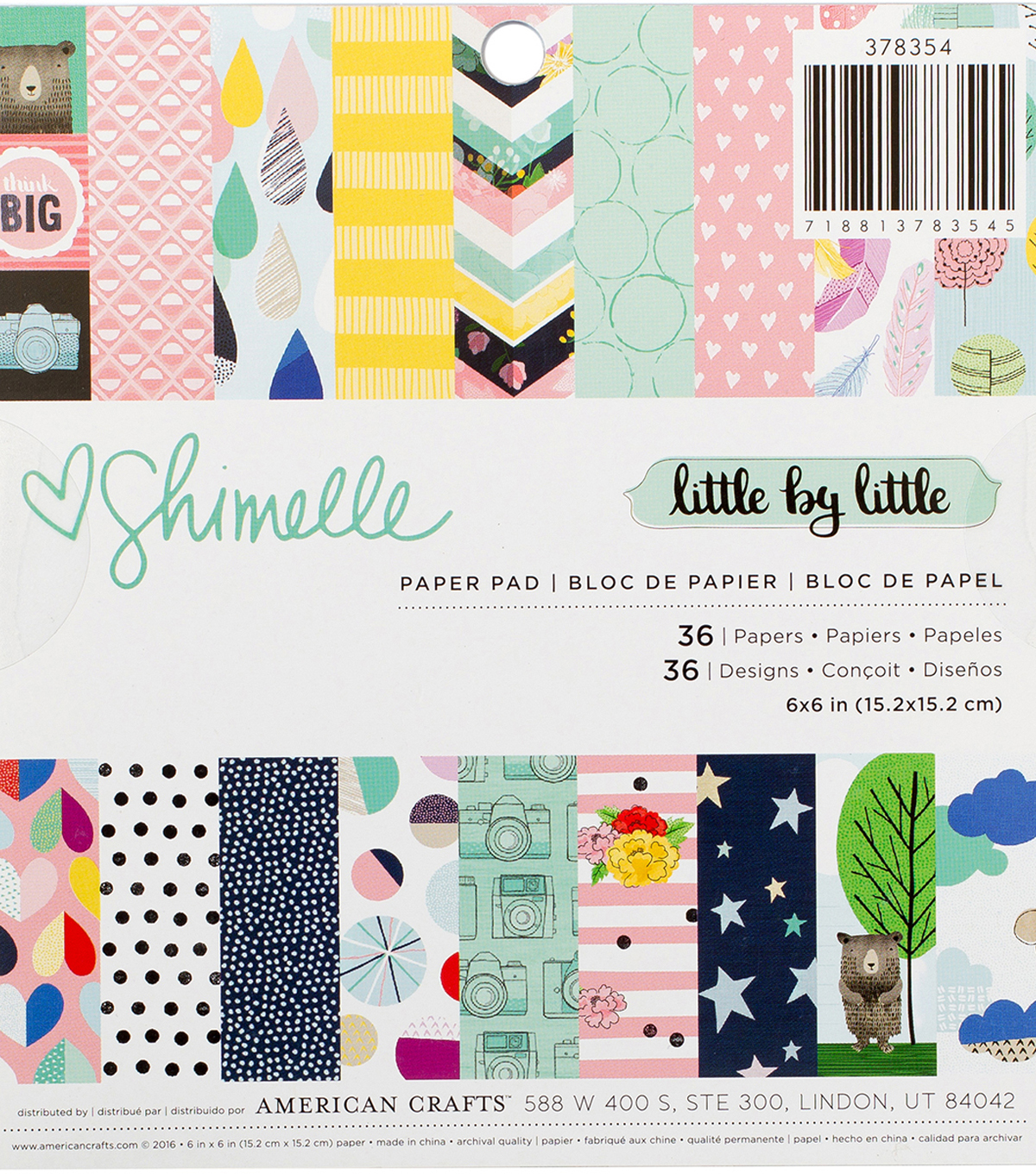 American Crafts Single-Sided Paper Pad 6\u0022X6\u0022-Shimelle Little By Little