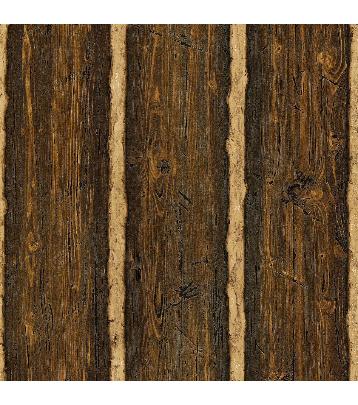 Franklin Brown Rustic Pine Wood Wallpaper