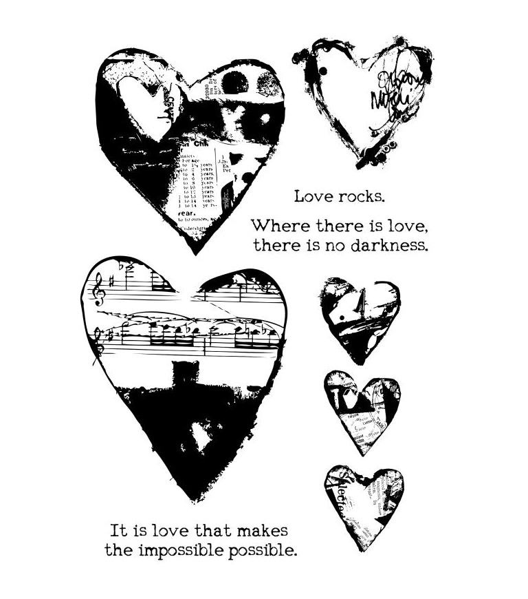 Ranger Dina Wakley Media Collaged Hearts Cling Stamps