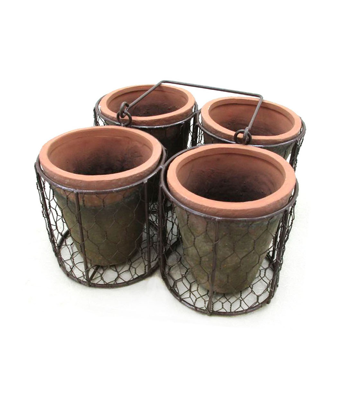 Bloom Room 4 Terracotta Pots In Tray With Handle