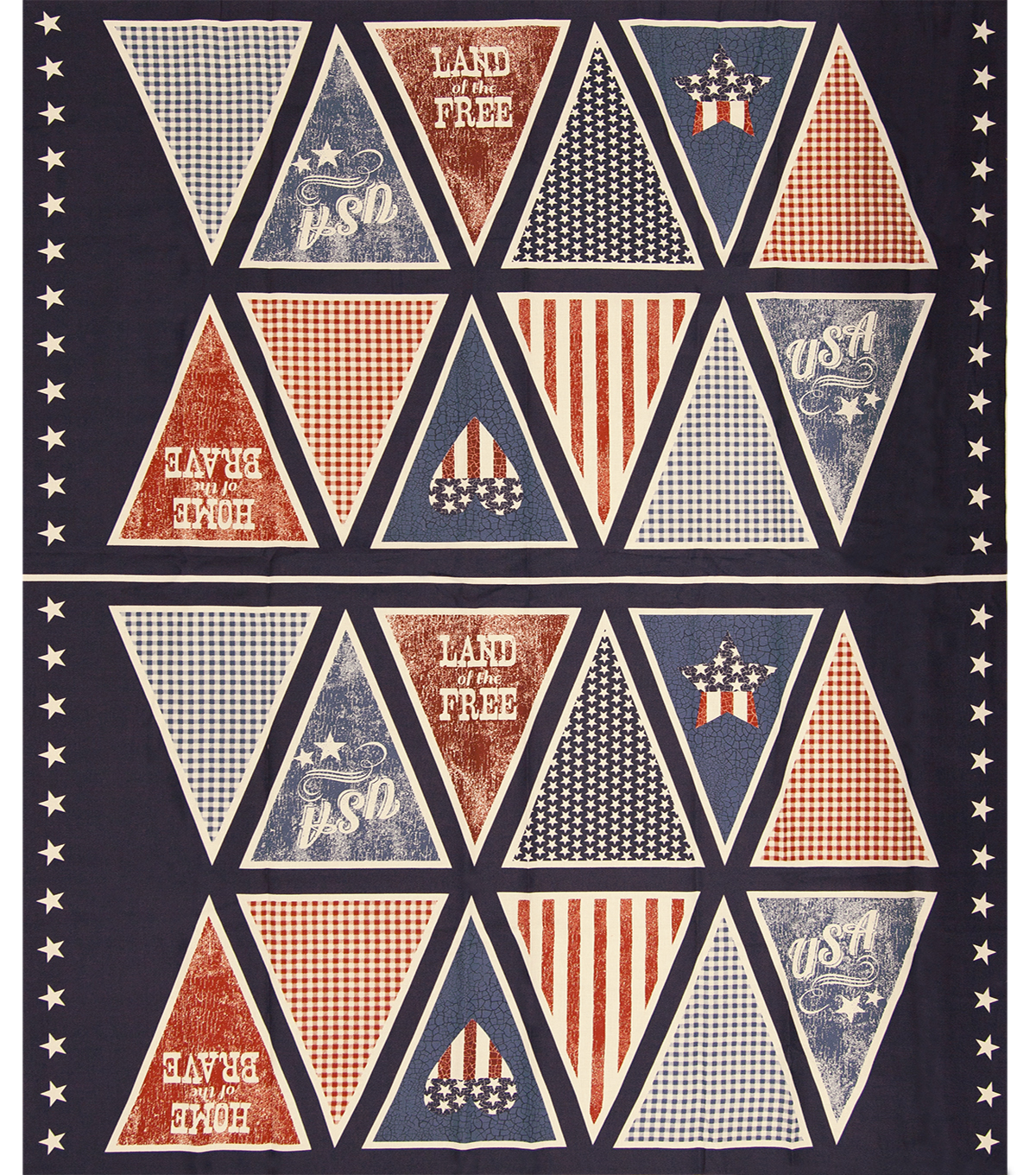 Patriotic Cotton Fabric 43\u0022-Pennant Panel