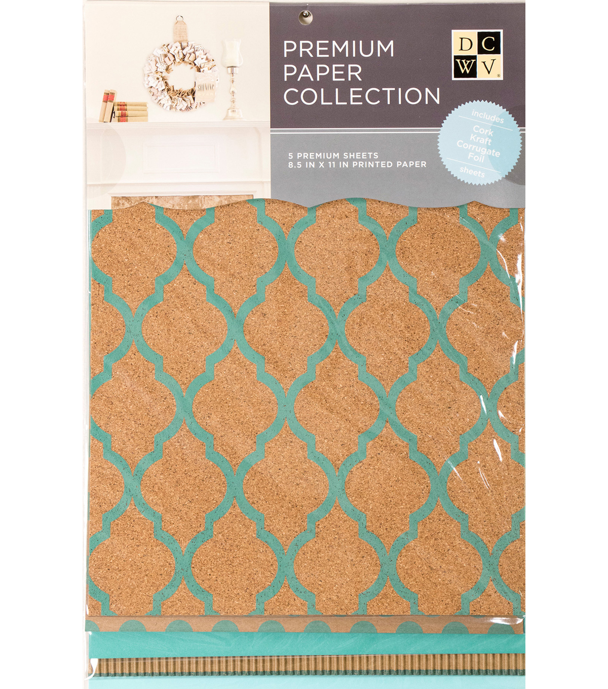 DCWV 8.5\u0022X11\u0022 set of 5 Premium Papers-Blue/Natural Assortment