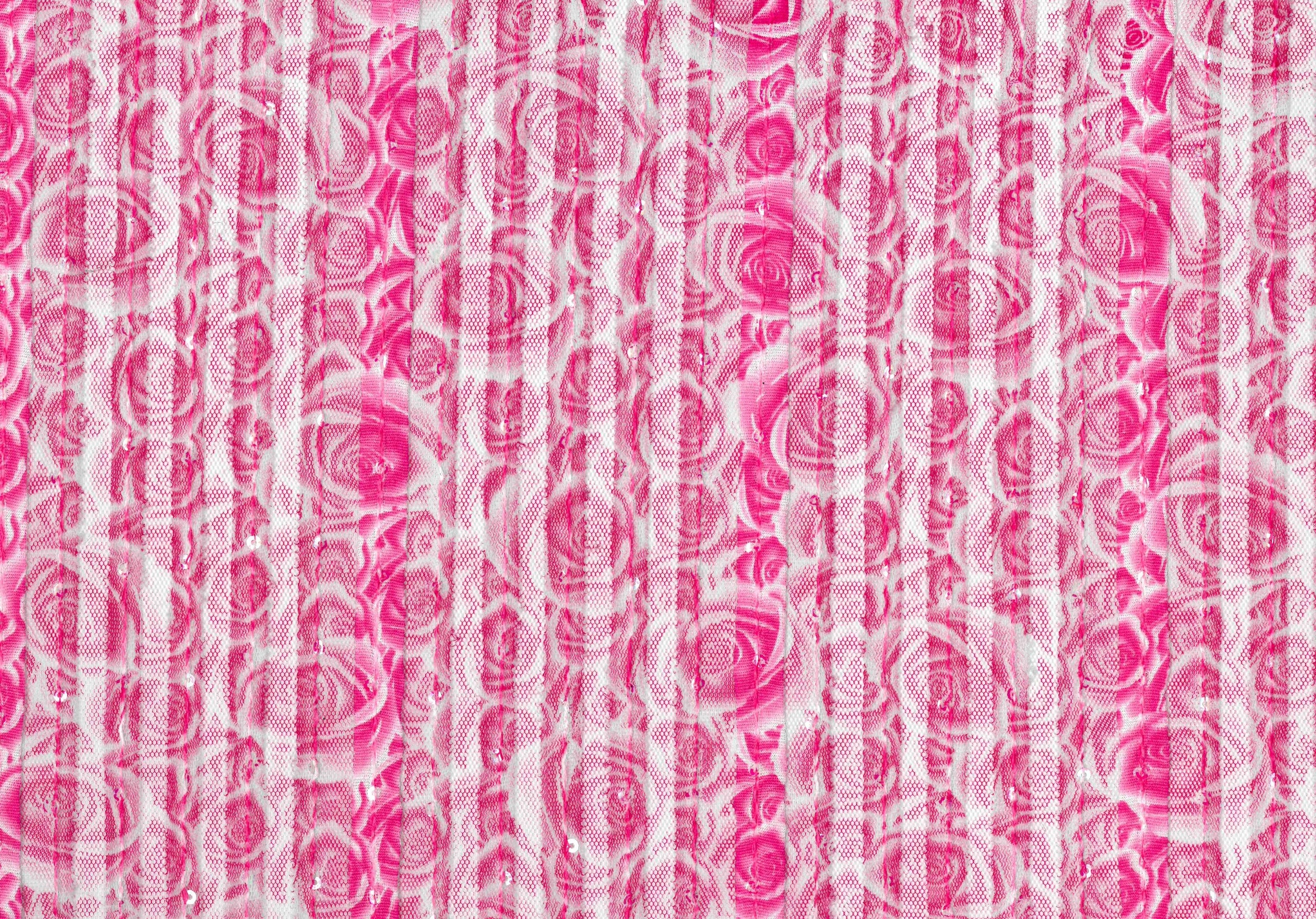 Sew Sweet Collection- Printed Ribbon Mesh Sequins Rose