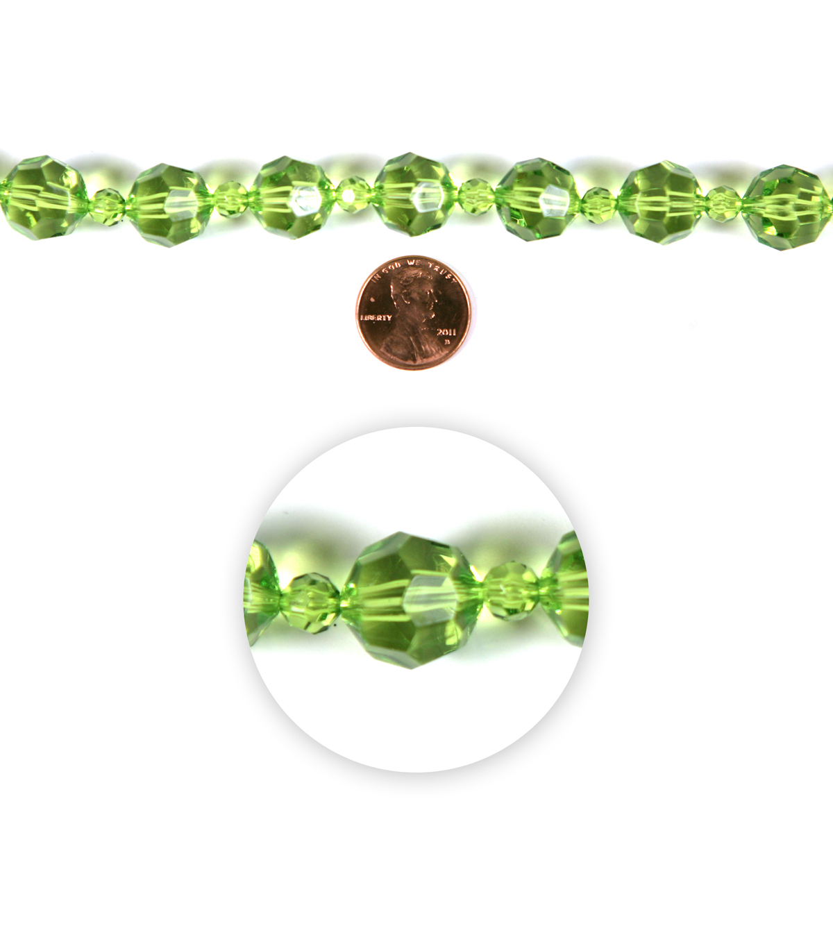 Blue Moon Strung Resin Beads,Round,Lime Green,Facetted