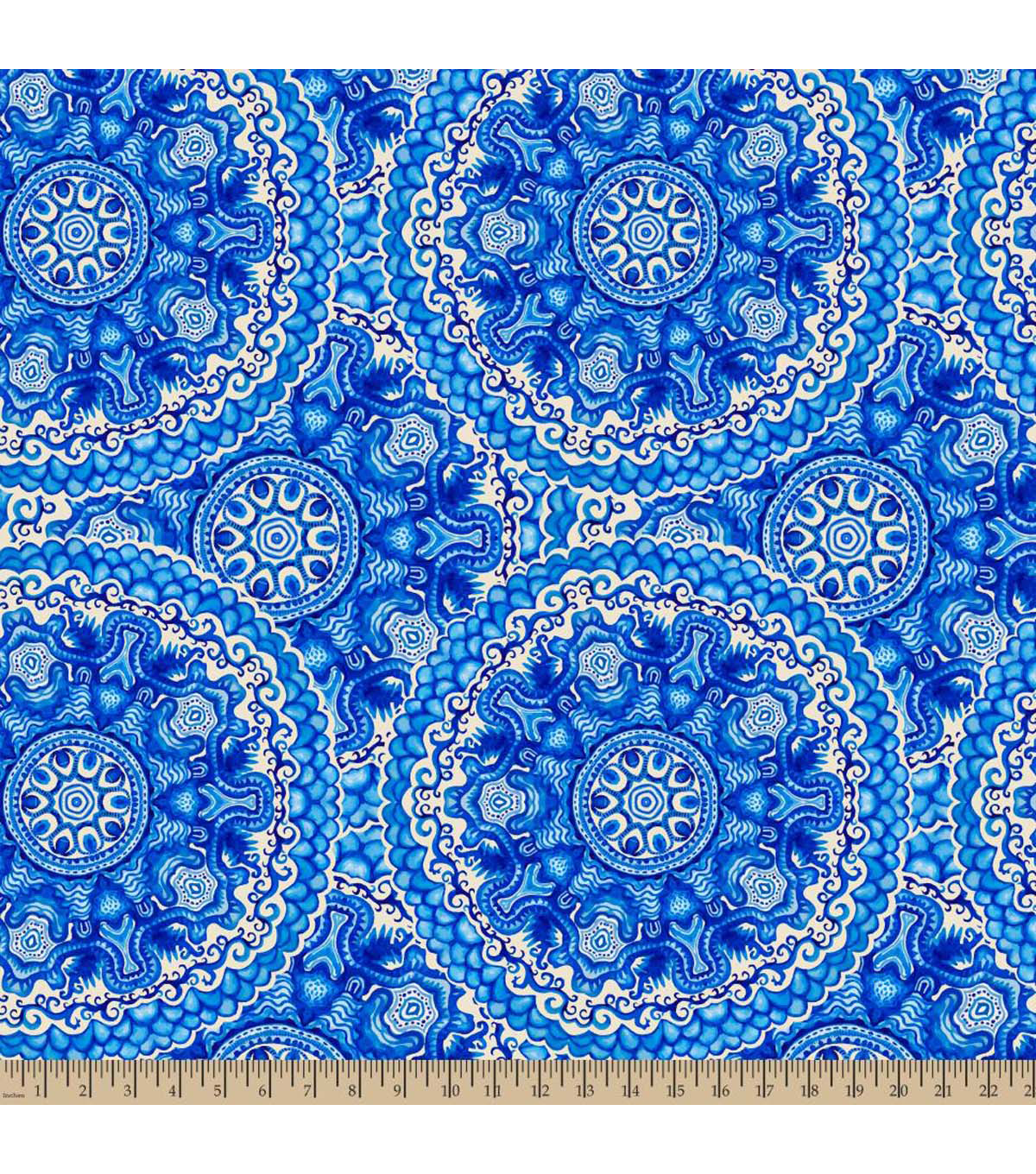 Anti-Pill Fleece Fabric 59\u0022-Wedgewood Medallion Blue