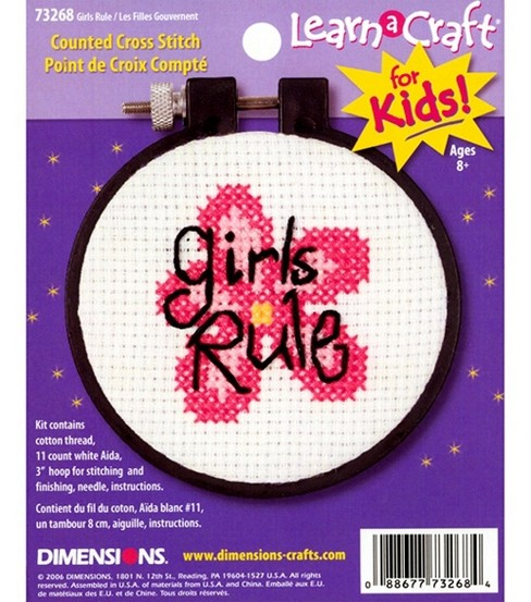 Dimensions Learn-A-Craft Counted Cross Stitch Kit Girls Rule