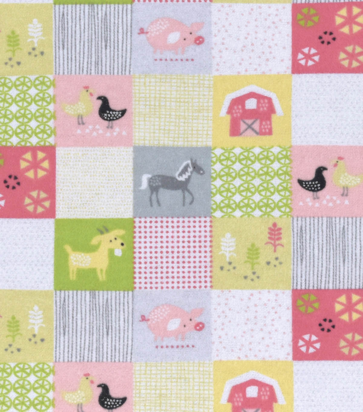 Nursery Flannel Fabric 42\u0022-Farm Patch