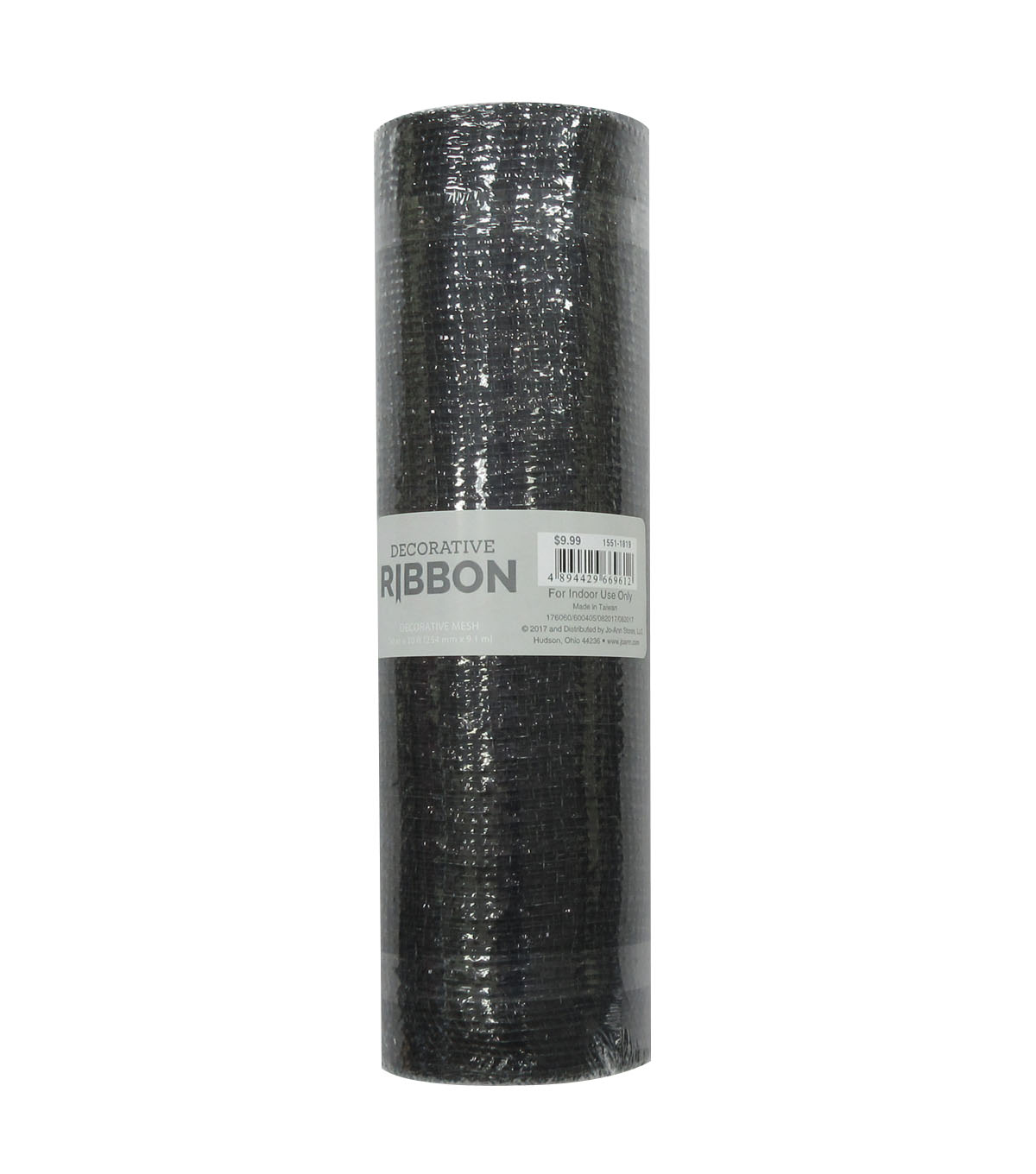 Decorative Ribbon Metallic Deco Mesh 10\u0027\u0027x10 yds-Black