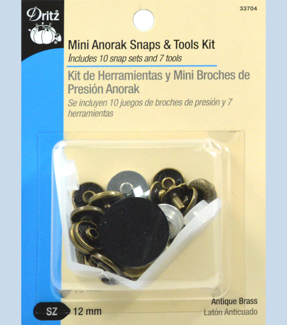 Dritz 12 mm Mini Anorak Snaps And Tools Brass