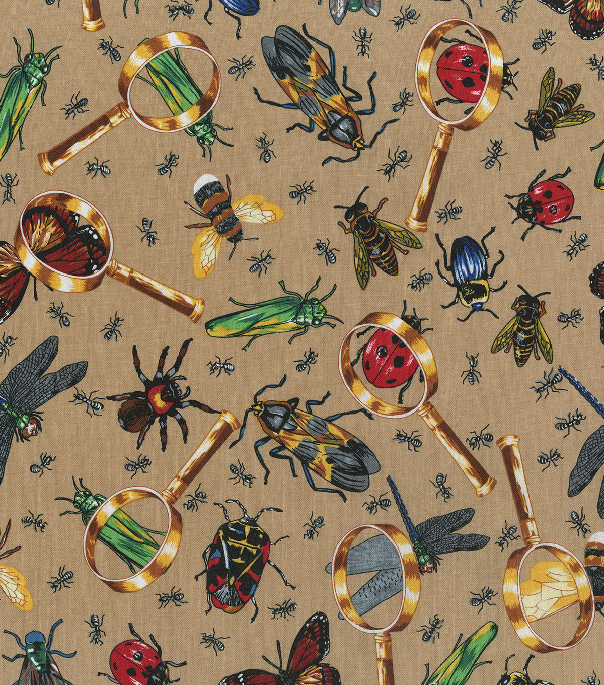 Novelty Cotton Fabric 44\u0027\u0027-Bugs Under Magnifying Glass