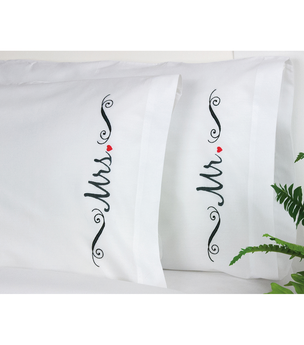 Mr and Mrs Pillowcase Pair Stamped Embroidery-20\u0022X30\u0022