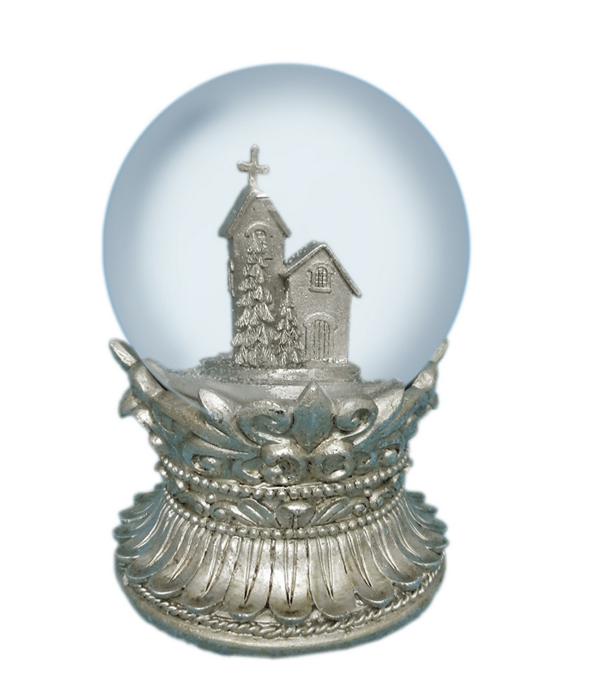 Sparkling Woodland 150Mm Resin Church Waterglobe
