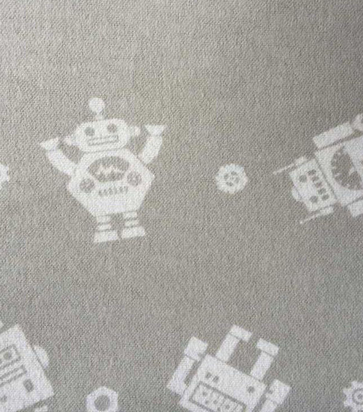 "Nursery Flannel Fabric 43""-Little Bot Grey"