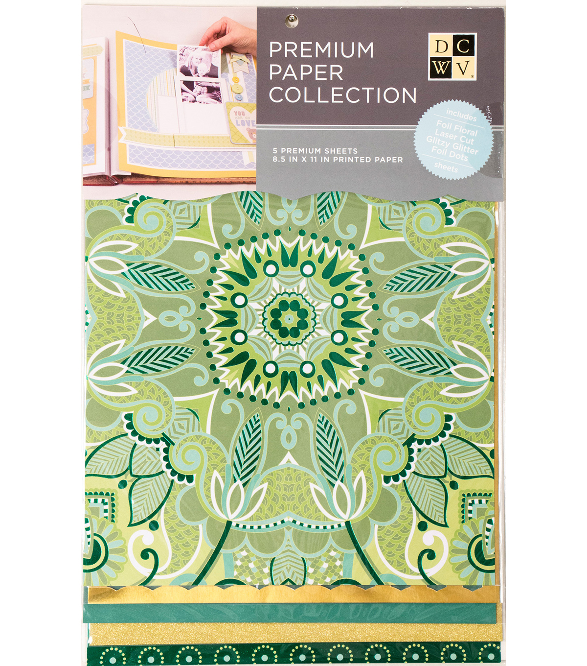 "DCWV 8.5""X11"" set of 5 Premium Papers-Kelly Green Multipack"