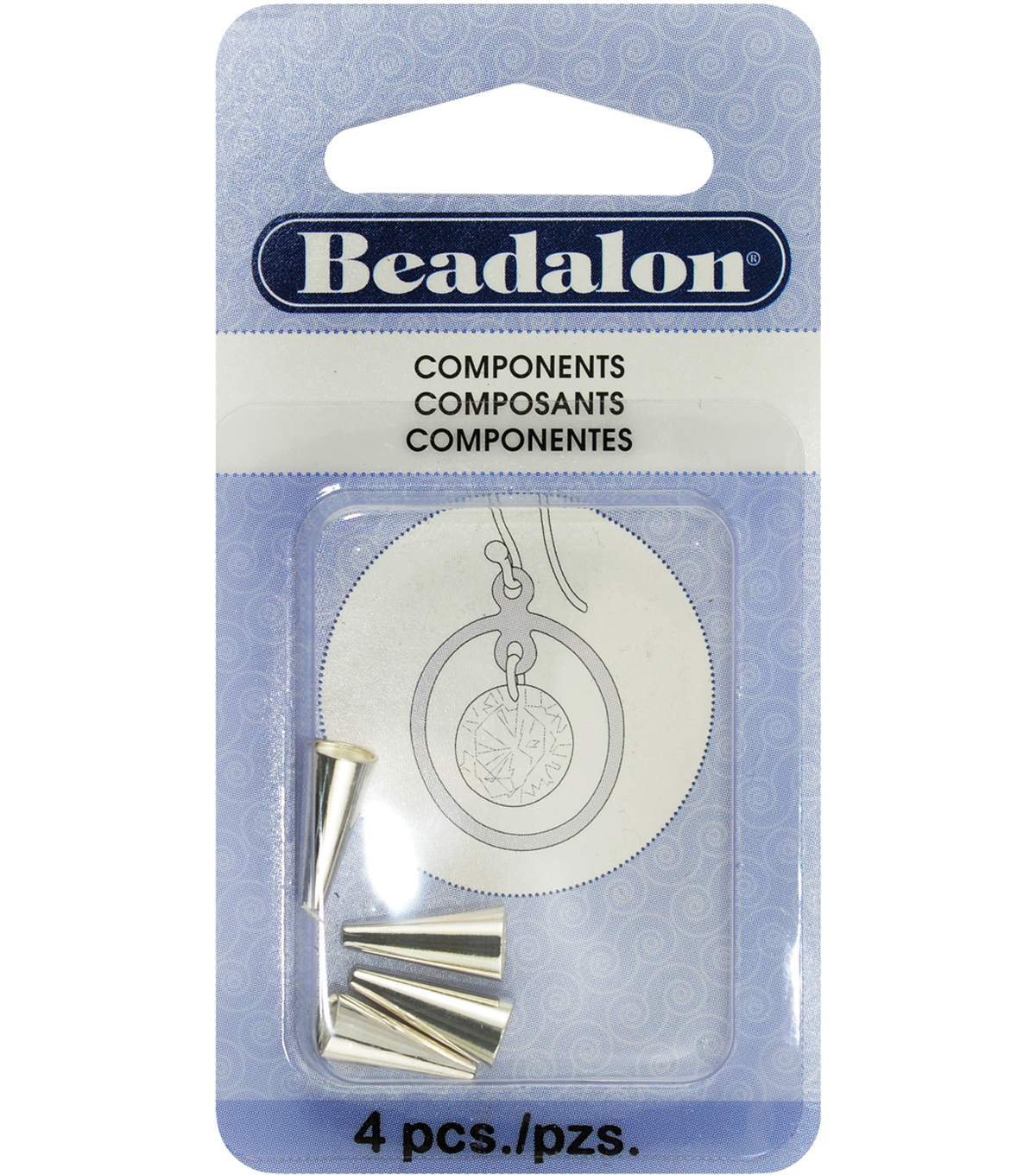 Beadalon Memory Wire End Caps Cone 12.2mm 4PK-Silver Plated