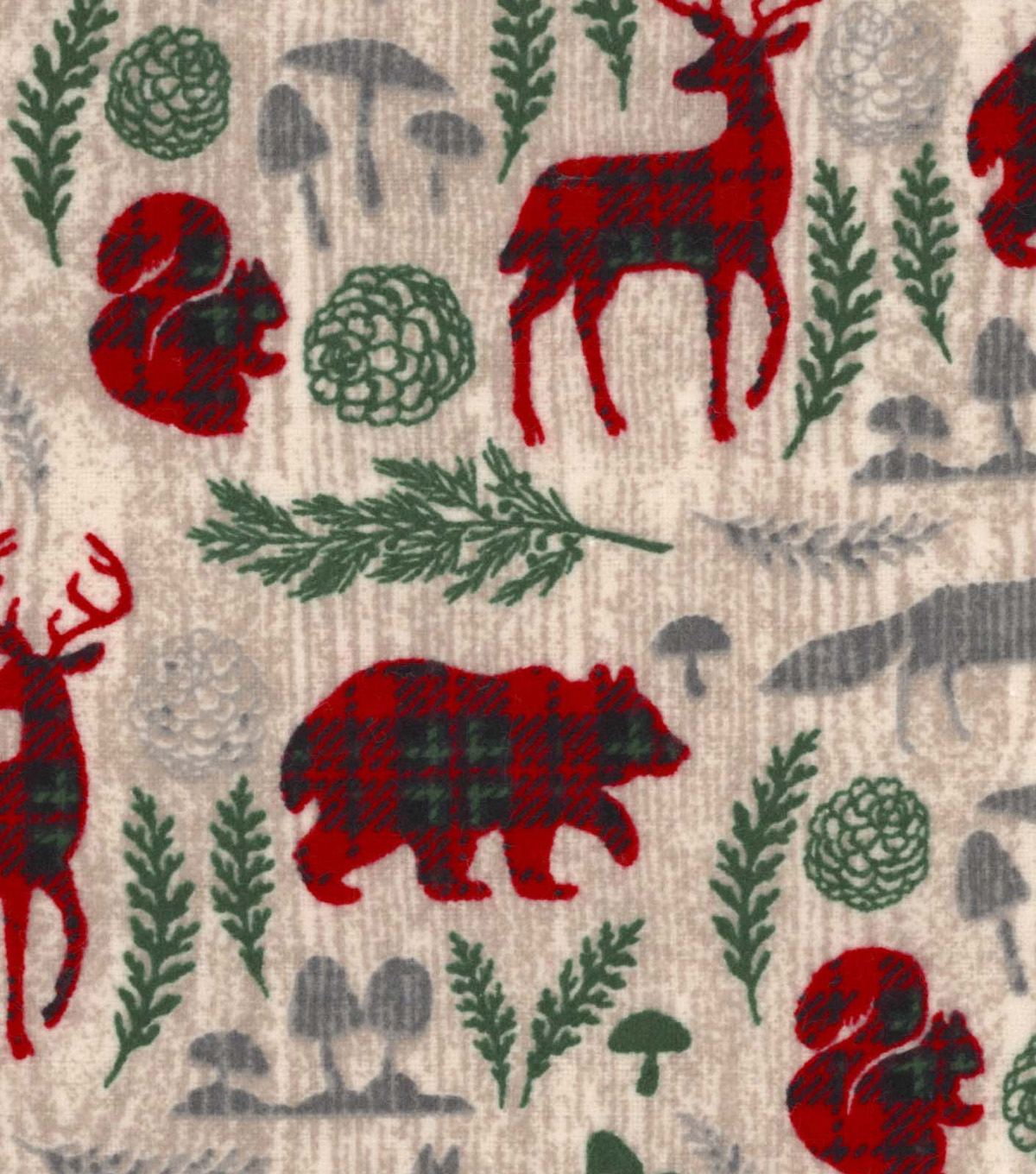Snuggle Flannel Fabric 42\u0022-Pattern Trap Woodland Animals